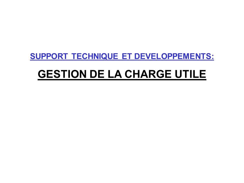 SUPPORT TECHNIQUE ET DEVELOPPEMENTS: GESTION DE LA CHARGE UTILE
