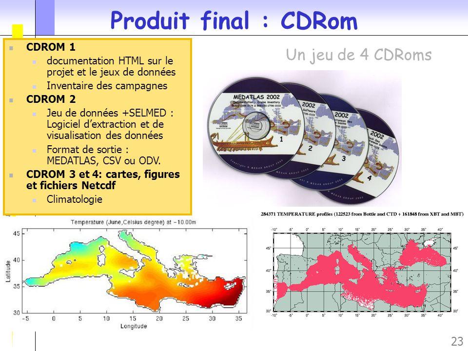 Produit final : CDRom Un jeu de 4 CDRoms CDROM 1