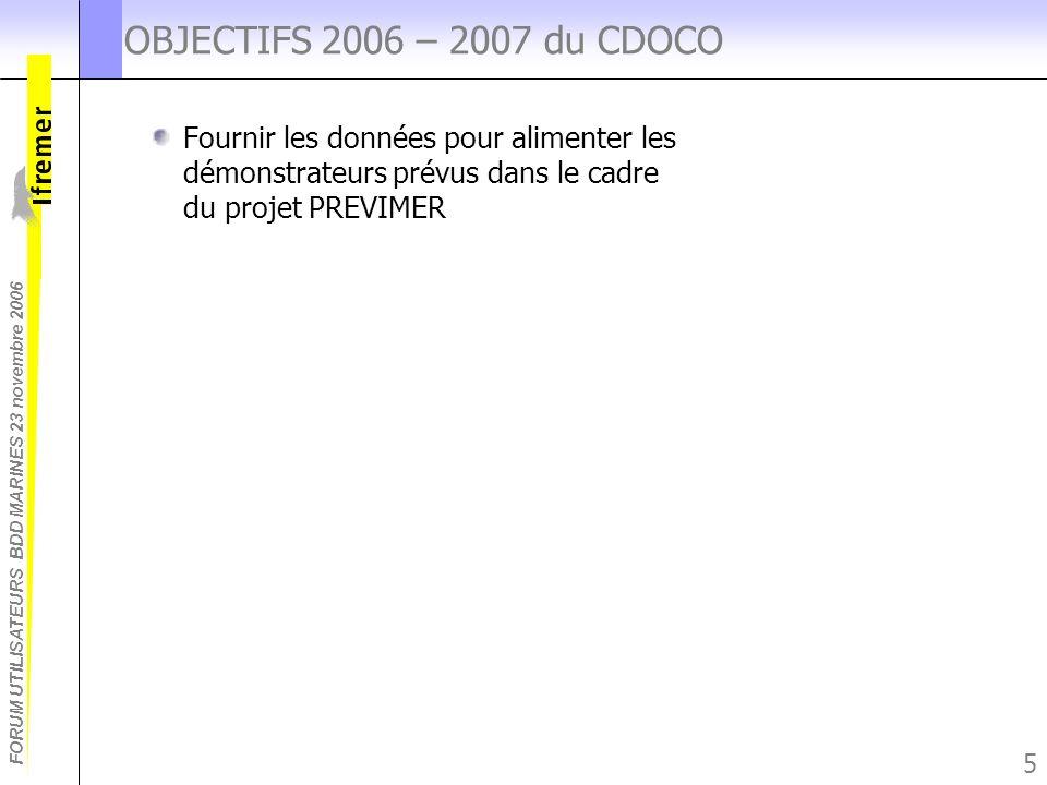 OBJECTIFS 2006 – 2007 du CDOCO Fournir les données pour alimenter les démonstrateurs prévus dans le cadre du projet PREVIMER.