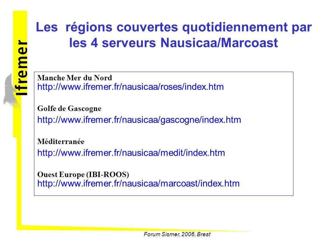 Les régions couvertes quotidiennement par les 4 serveurs Nausicaa/Marcoast