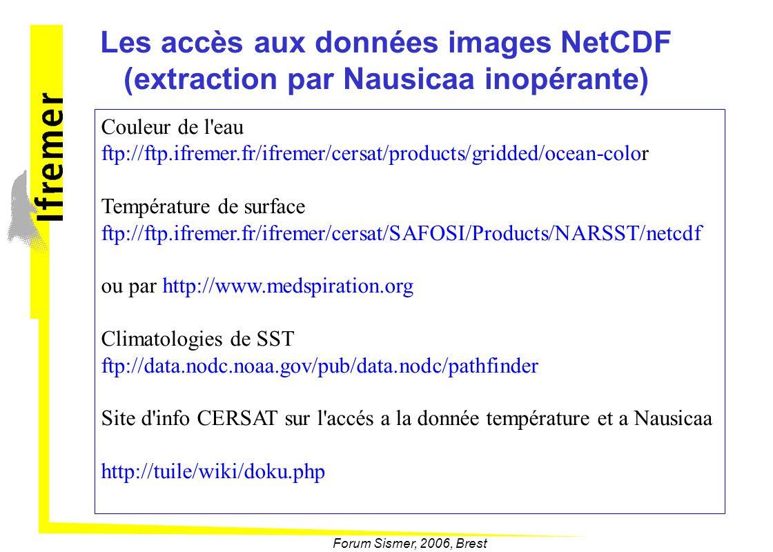 Les accès aux données images NetCDF (extraction par Nausicaa inopérante)