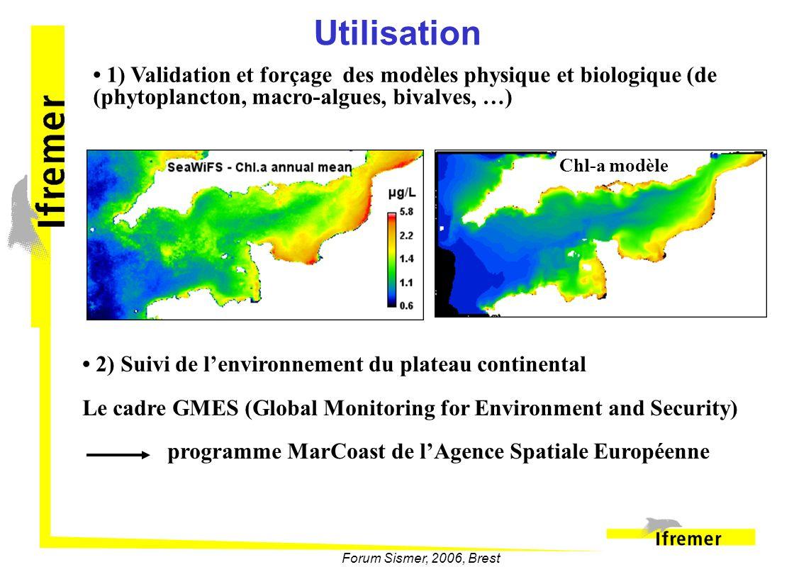 Utilisation • 1) Validation et forçage des modèles physique et biologique (de (phytoplancton, macro-algues, bivalves, …)