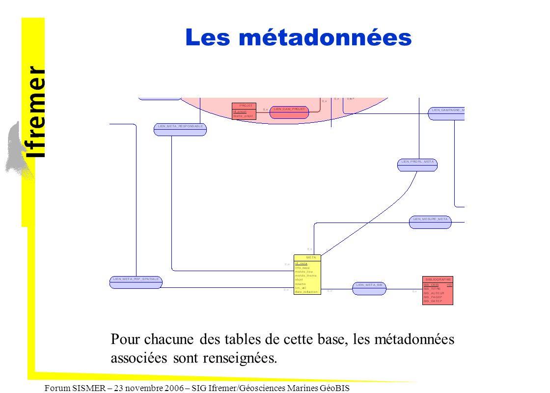 Les métadonnées Pour chacune des tables de cette base, les métadonnées associées sont renseignées.