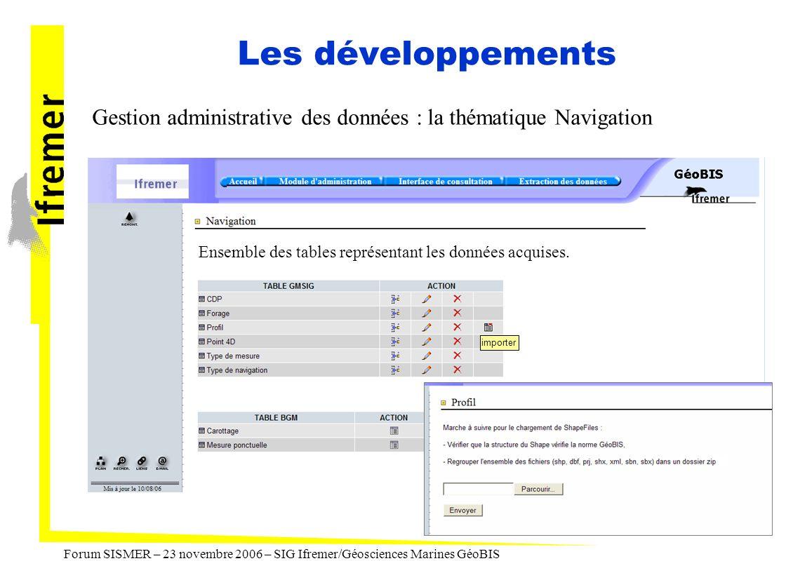Les développements Gestion administrative des données : la thématique Navigation. Ensemble des tables représentant les données acquises.