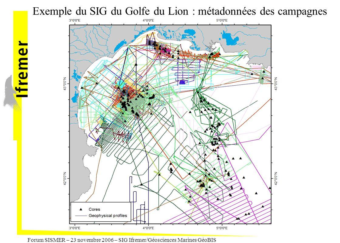 Exemple du SIG du Golfe du Lion : métadonnées des campagnes