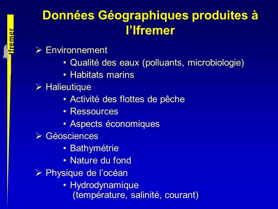 Données Géographiques produites à l'Ifremer