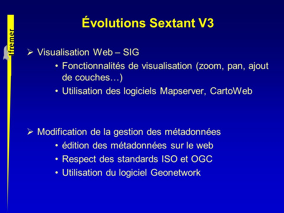 Évolutions Sextant V3 Visualisation Web – SIG