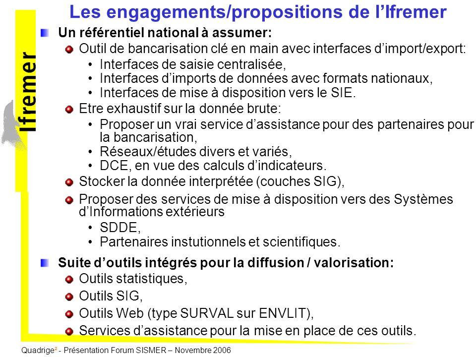 Les engagements/propositions de l'Ifremer