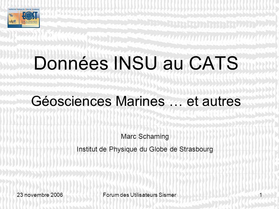Données INSU au CATS Géosciences Marines … et autres