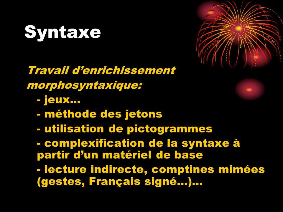 Syntaxe Travail d'enrichissement morphosyntaxique: - jeux...