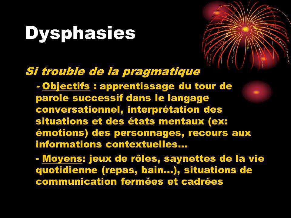 Dysphasies Si trouble de la pragmatique