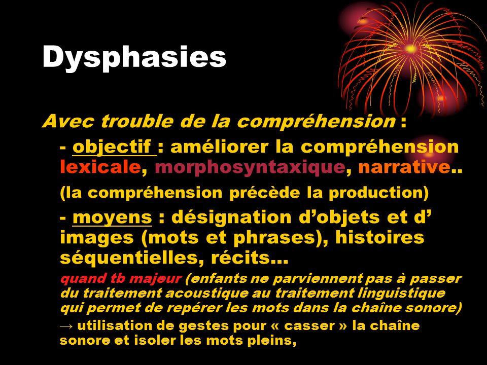 Dysphasies Avec trouble de la compréhension :