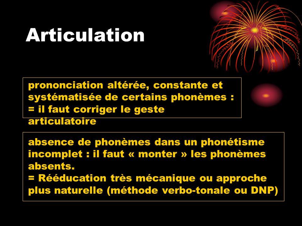 Articulation prononciation altérée, constante et systématisée de certains phonèmes : = il faut corriger le geste articulatoire.