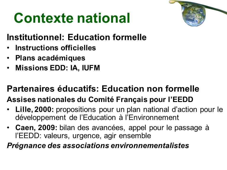 Contexte national Institutionnel: Education formelle