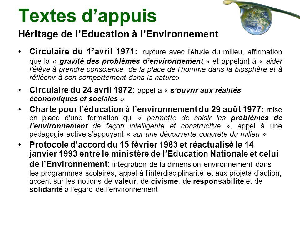 Textes d'appuis Héritage de l'Education à l'Environnement