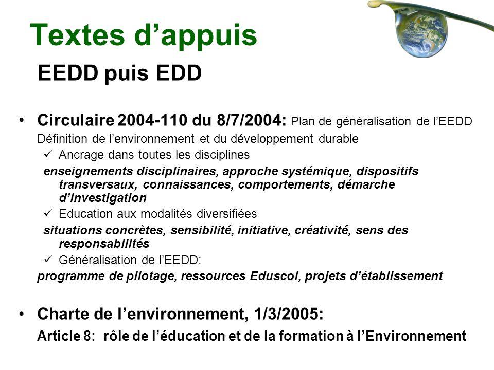 Textes d'appuis EEDD puis EDD