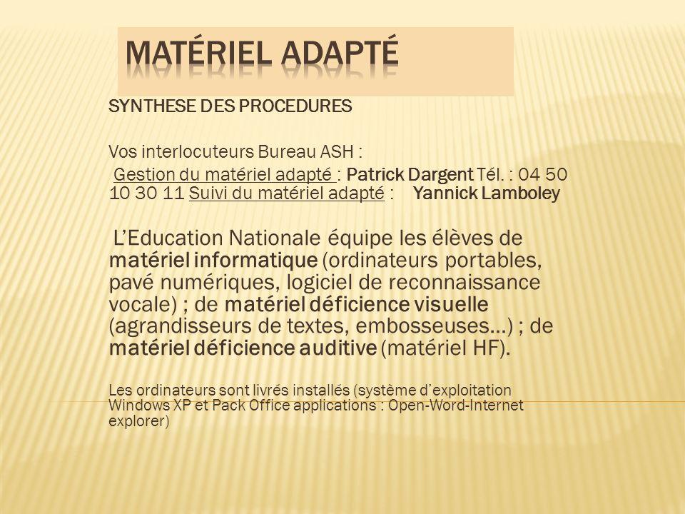 Matériel adapté SYNTHESE DES PROCEDURES