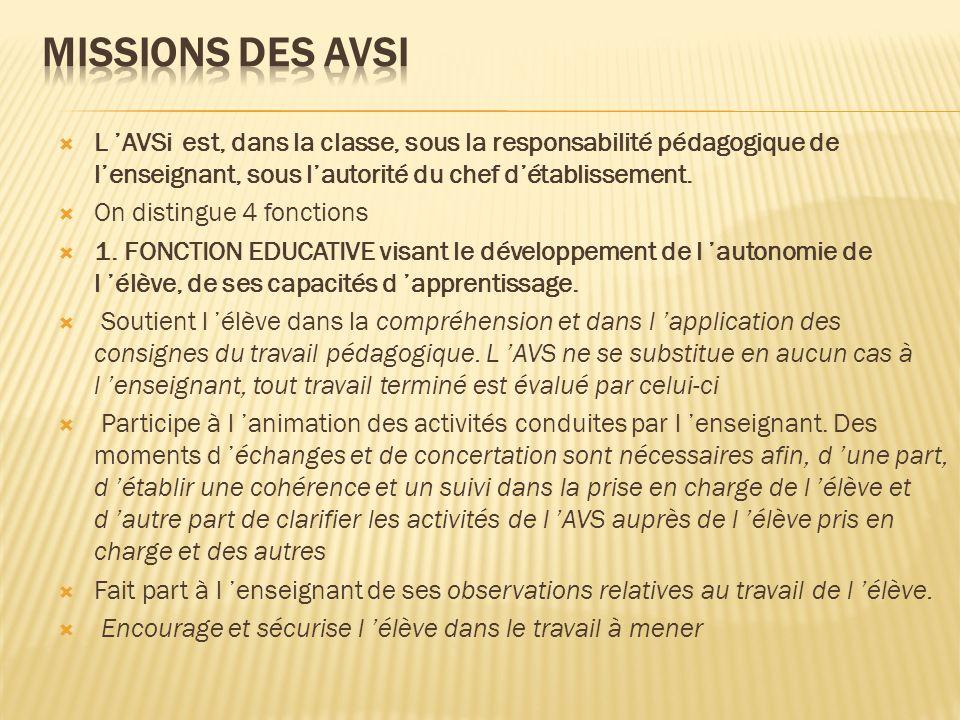 MISSIONS DES AVSI L 'AVSi est, dans la classe, sous la responsabilité pédagogique de l'enseignant, sous l'autorité du chef d'établissement.
