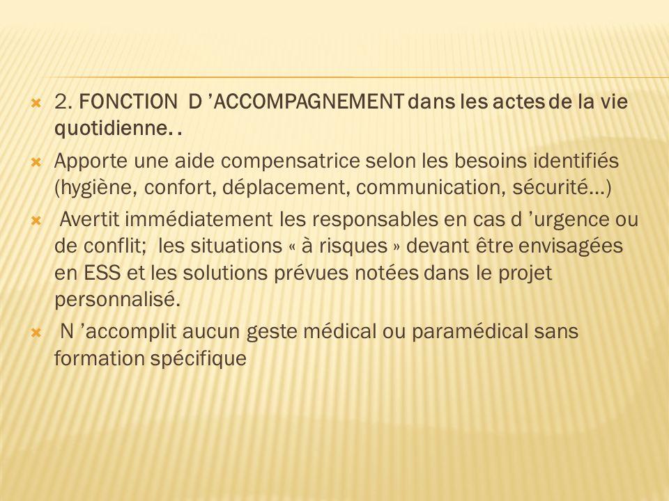 2. FONCTION D 'ACCOMPAGNEMENT dans les actes de la vie quotidienne. .