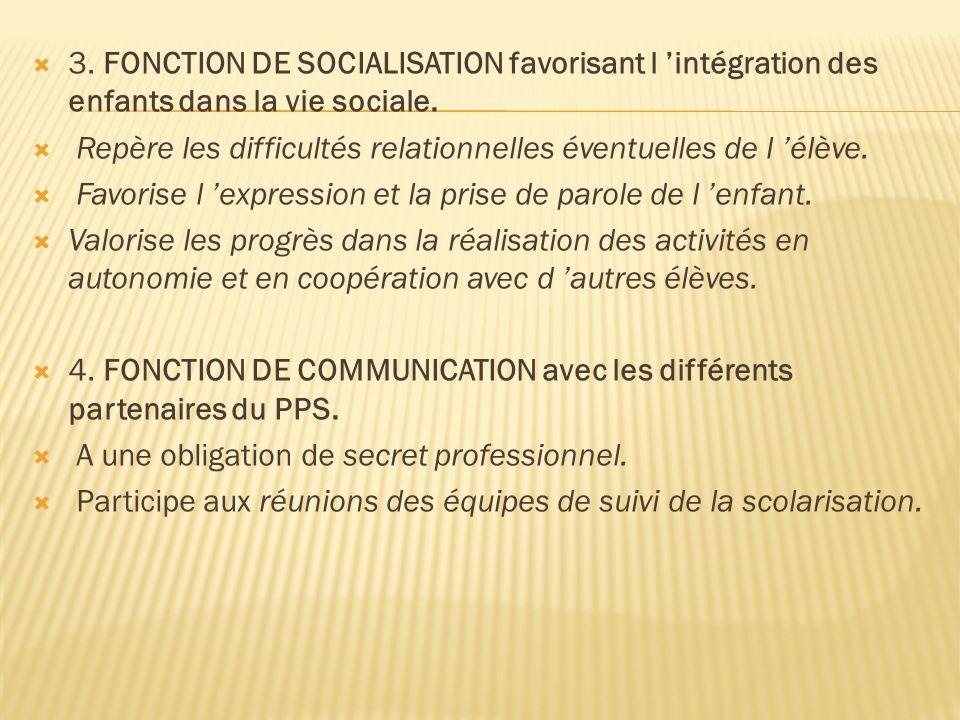 3. FONCTION DE SOCIALISATION favorisant l 'intégration des enfants dans la vie sociale.