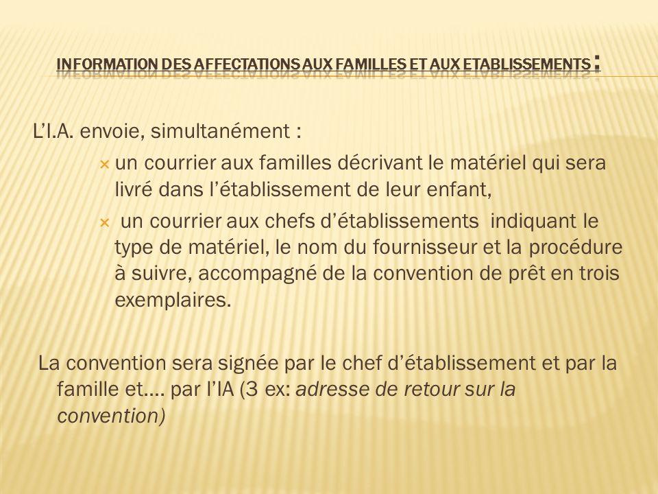 INFORMATION DES AFFECTATIONS AUX FAMILLES ET AUX ETABLISSEMENTS :