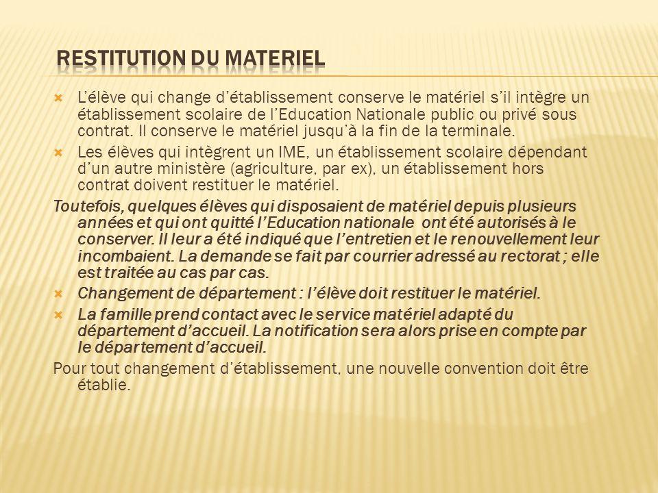 RESTITUTION DU MATERIEL