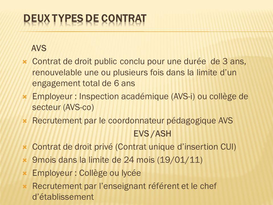 Deux types de contrat AVS