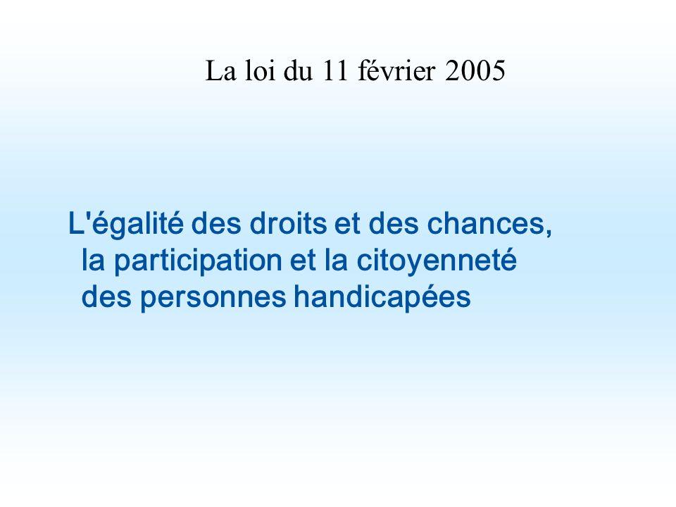 La loi du 11 février 2005 L égalité des droits et des chances, la participation et la citoyenneté des personnes handicapées.