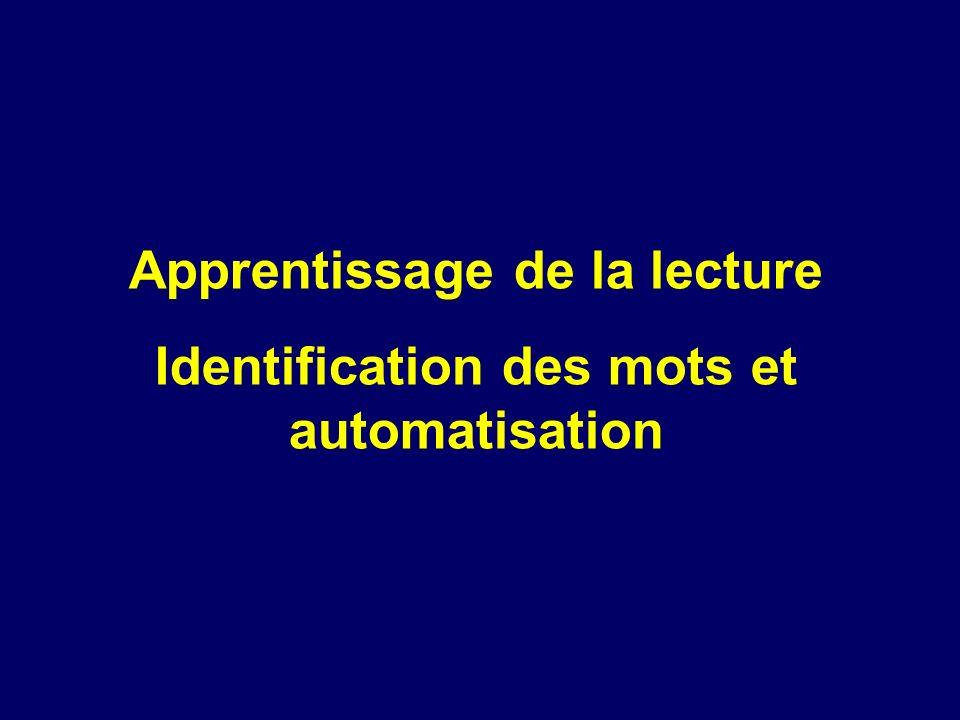 Apprentissage de la lecture Identification des mots et automatisation