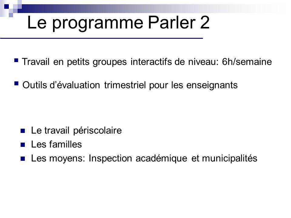 Le programme Parler 2 Travail en petits groupes interactifs de niveau: 6h/semaine. Outils d'évaluation trimestriel pour les enseignants.