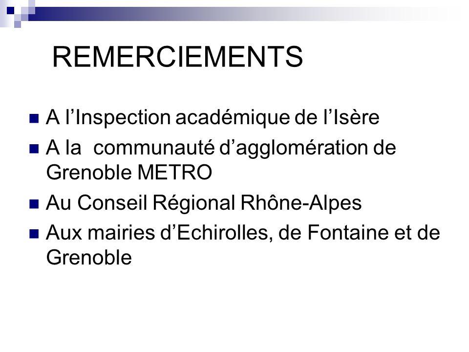 REMERCIEMENTS A l'Inspection académique de l'Isère
