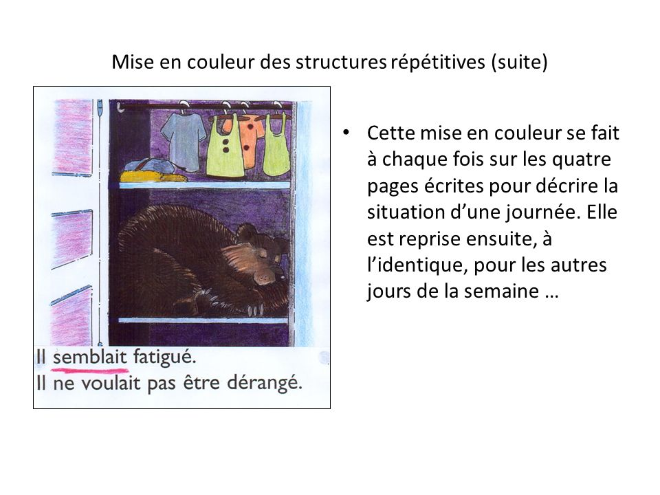 Mise en couleur des structures répétitives (suite)