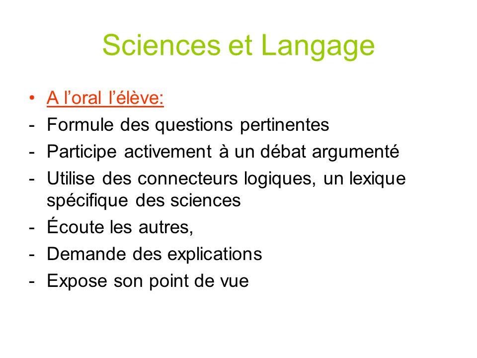 Sciences et Langage A l'oral l'élève: