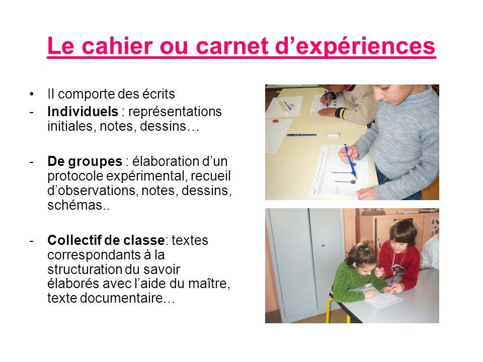 Le cahier ou carnet d'expériences