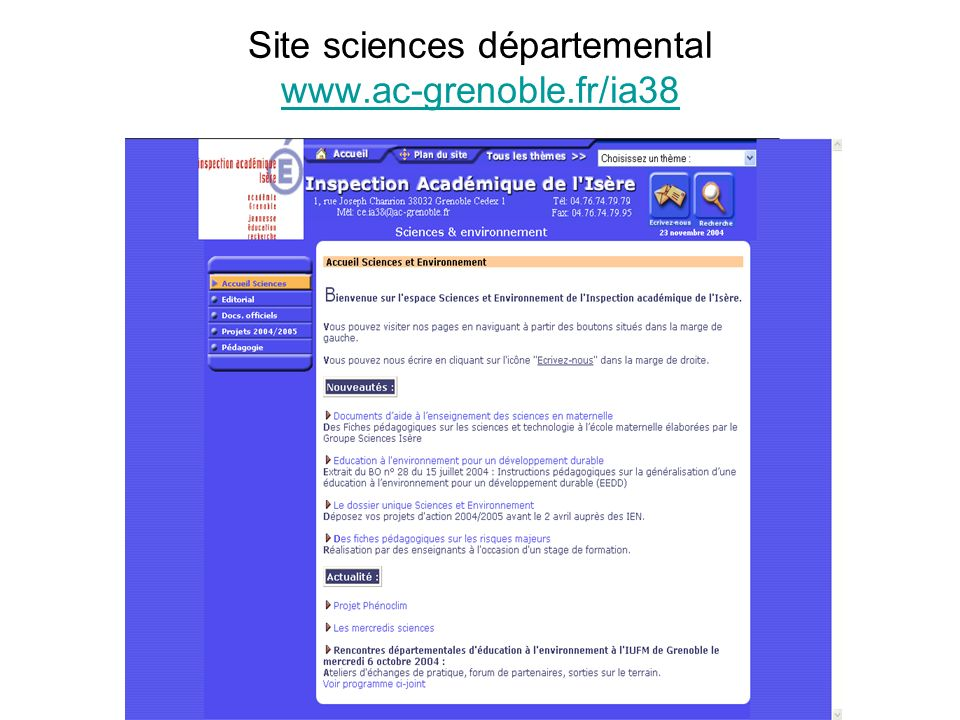 Site sciences départemental www.ac-grenoble.fr/ia38