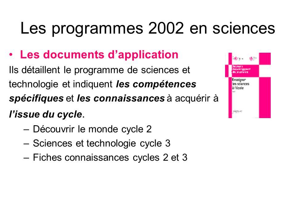 Les programmes 2002 en sciences