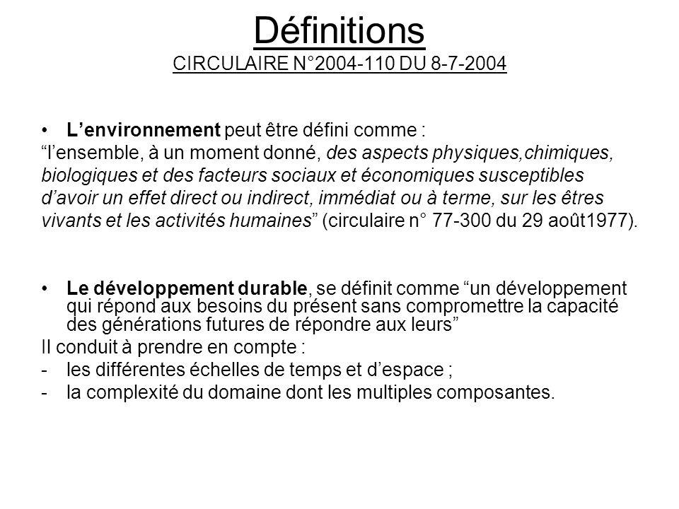 Définitions CIRCULAIRE N°2004-110 DU 8-7-2004