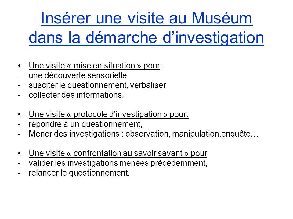 Insérer une visite au Muséum dans la démarche d'investigation