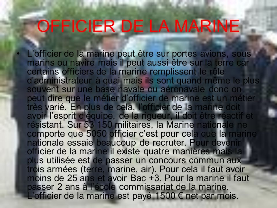 OFFICIER DE LA MARINE