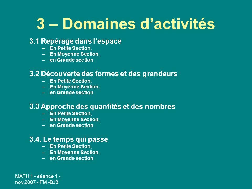 3 – Domaines d'activités