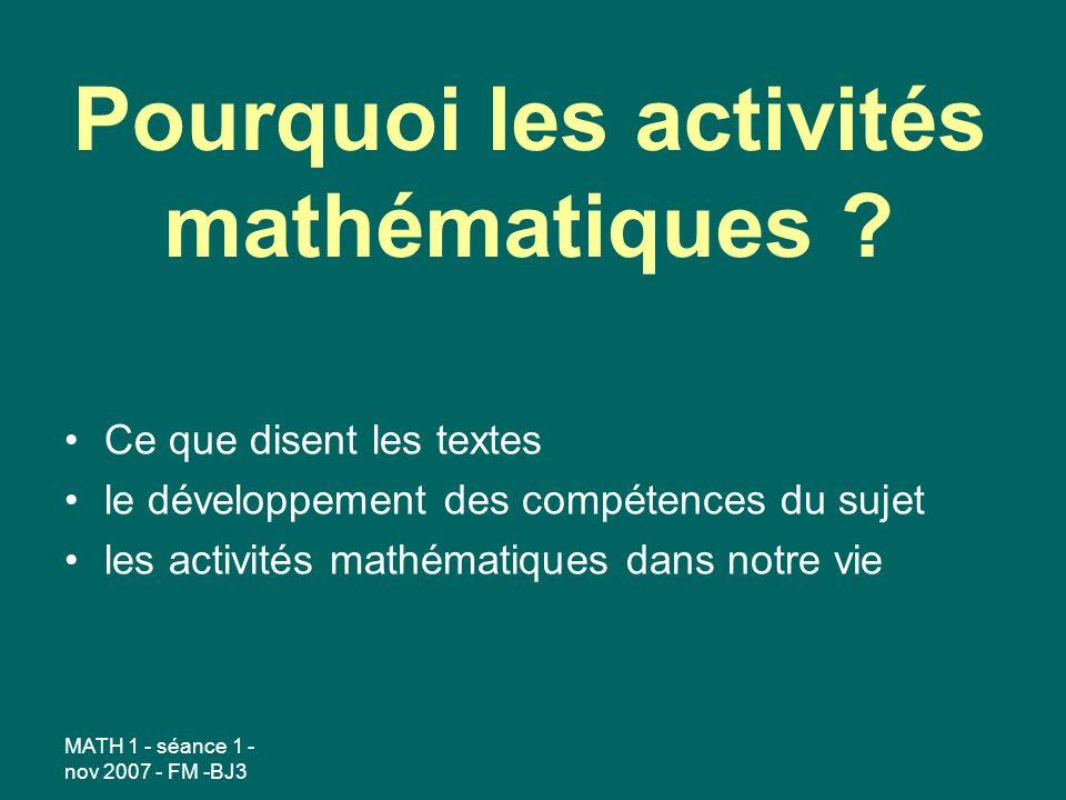 Pourquoi les activités mathématiques