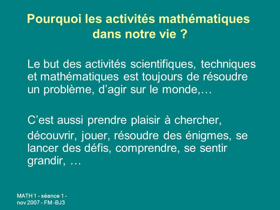 Pourquoi les activités mathématiques dans notre vie
