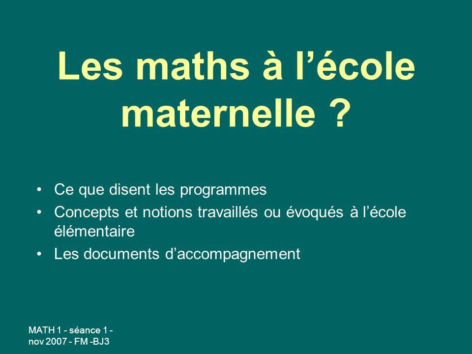 Les maths à l'école maternelle