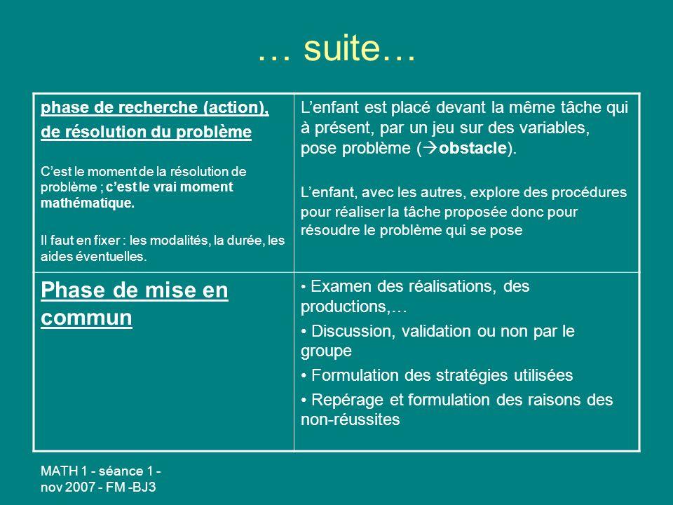… suite… Phase de mise en commun phase de recherche (action),