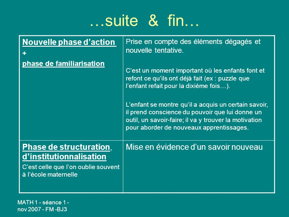 …suite & fin… Nouvelle phase d'action