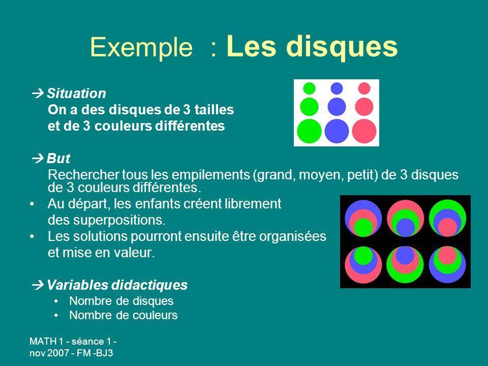 Exemple : Les disques  Situation On a des disques de 3 tailles
