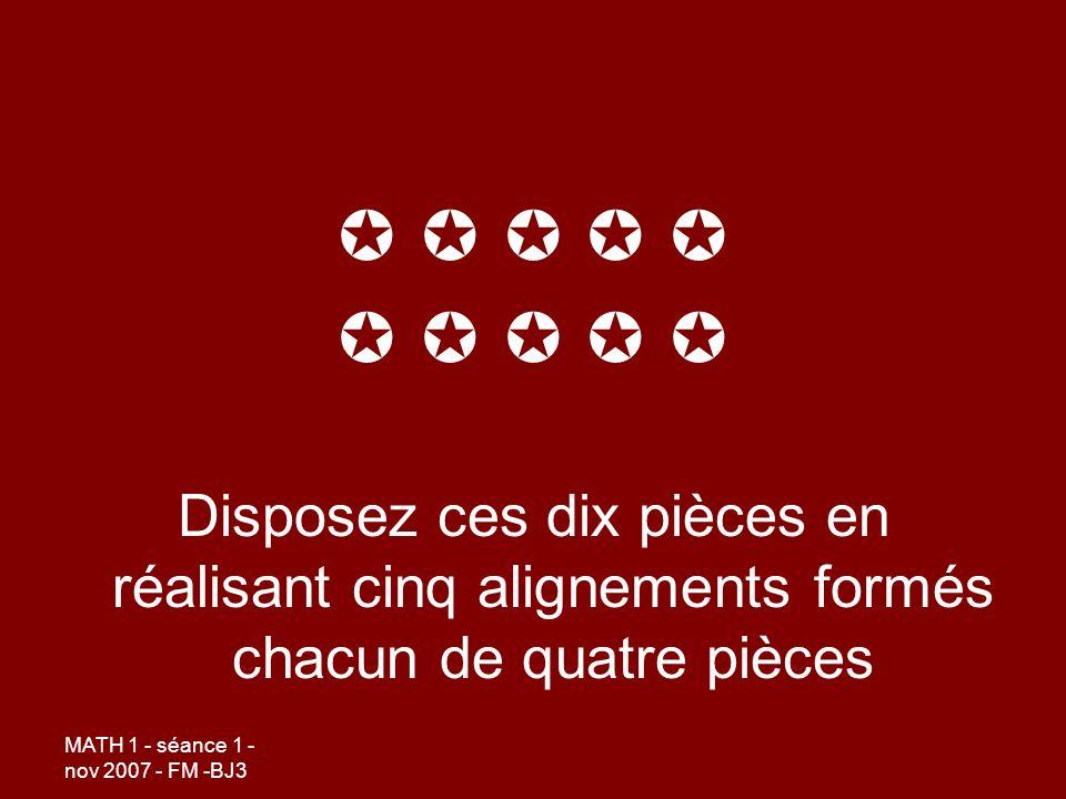     Disposez ces dix pièces en réalisant cinq alignements formés chacun de quatre pièces.