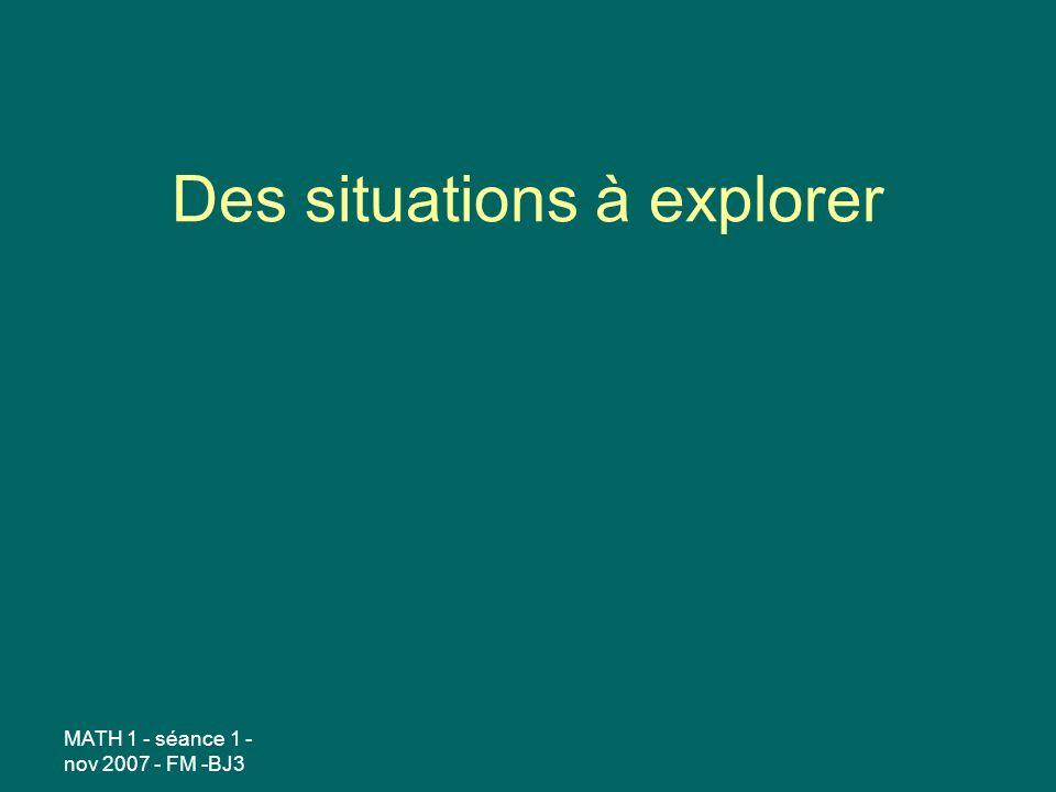 Des situations à explorer