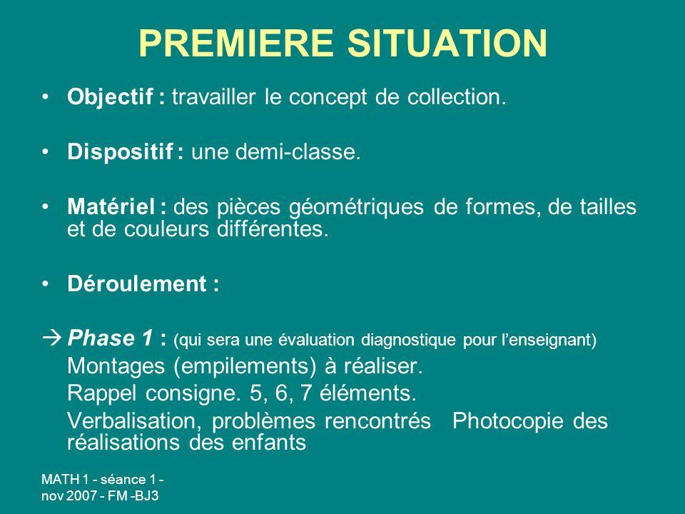 PREMIERE SITUATION Objectif : travailler le concept de collection.