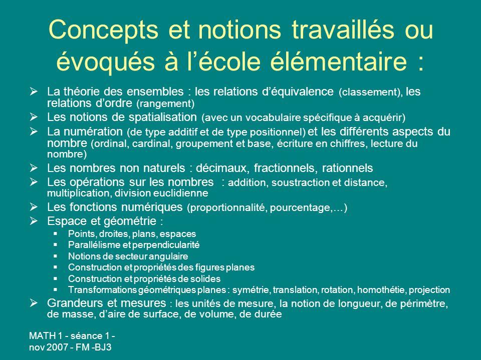 Concepts et notions travaillés ou évoqués à l'école élémentaire :
